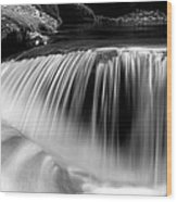 Falling Water Black And White Wood Print