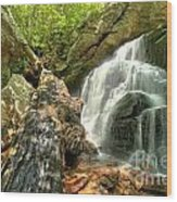 Falls Through The Rocks Wood Print
