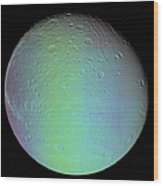 False Color View Of Saturns Moon Dione Wood Print