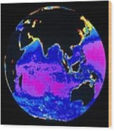 False Colour Image Of The Indian Ocean Wood Print by Dr Gene Feldman, Nasa Gsfc