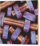 False-coloured Photograph Of Nuts And Bolts Wood Print