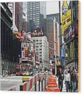 Amidst Color And Construction In Times Square Wood Print