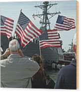 Family Members Wave Flags To Show Wood Print