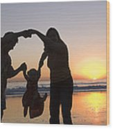 Family Portrait On The Beach At Sunset Wood Print