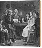 Family Reading, 1840 Wood Print