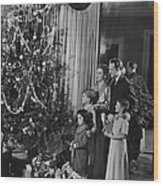 Family With Three Children (4-9) Standing At Christmas Tree, (b&w) Wood Print