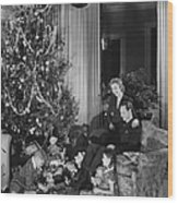 Family With Two Children (6-9) Sitting At Christmas Tree, (b&w) Wood Print