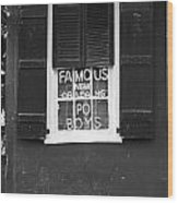 Famous New Orleans Po Boys Neon Window Sign Black And White Accented Edges Digital Art Wood Print