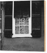 Famous New Orleans Po Boys Neon Window Sign Black And White Conte Crayon Digital Art Wood Print