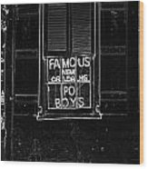 Famous New Orleans Po Boys Neon Window Sign Black And White Glowing Edges Digital Art Wood Print