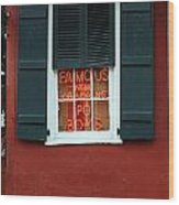 Famous New Orleans Po Boys Red Neon Window Sign  Wood Print