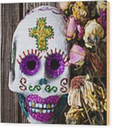 Fancy Skull And Dead Flowers Wood Print by Garry Gay