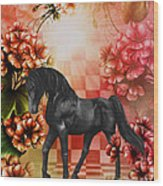 Fantasy Black Horse Wood Print