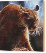 Fantasy Cougar Wood Print by Paul Ward