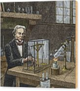Faraday's Electrolysis Experiment, 1833 Wood Print by Sheila Terry