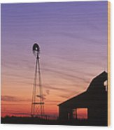 Farm At Sunset Wood Print by David Davis and Photo Researchers