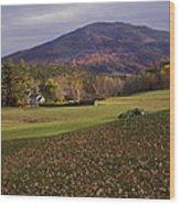 Farm By Ascutney Mountain Vermont Wood Print