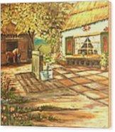 Farm House and Barn Wood Print