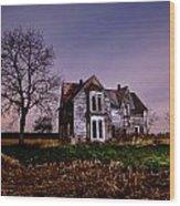 Farm House At Night Wood Print