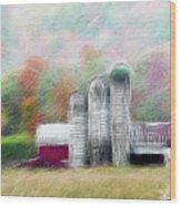 Farm In Fractals Wood Print