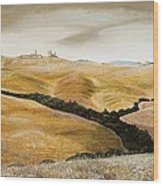 Farm On Hill - Tuscany Wood Print