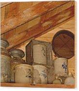 Farm Primitives Wood Print by Carmen Del Valle