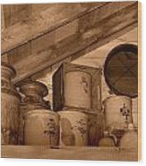 Farm Primitives Sepia Tone Wood Print by Carmen Del Valle