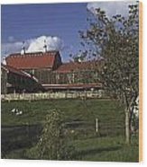 Farm Scene With Barn  Wood Print