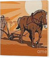 Farmer And Horse Plowing Farm Retro Wood Print by Aloysius Patrimonio