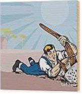 Farmer Dragged Plow Plowing Farm Retro Wood Print by Aloysius Patrimonio