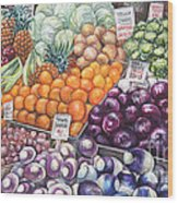Farmers Market Wood Print
