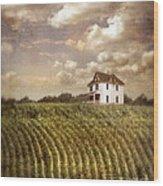 Farmhouse And Cornfield Wood Print