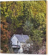 Farmhouse In Fall Wood Print