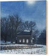 Farmhouse Under Full Moon In Winter Wood Print