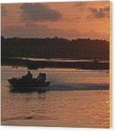 Fast Boat Sunrise Wood Print