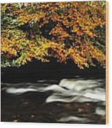 Fast Flowing Water And Fall Colours Wood Print