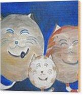 Fat Cat Family Wood Print