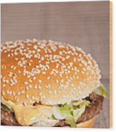 Fat Hamburger Sandwich Wood Print by Sabino Parente