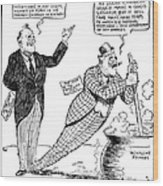 F.d. Roosevelt Cartoon Wood Print