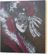 Feathered Rose Wood Print