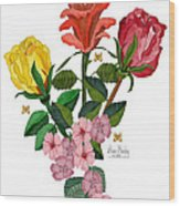 February 2012 Roses And Blooms Wood Print