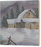 February Snowstorm Wood Print
