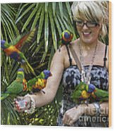 Feeding Rainbow Lorikeets Wood Print