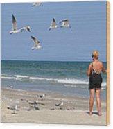 Feeding The Sea Gulls Wood Print