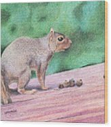Feelin' Alittle Squirrely Wood Print