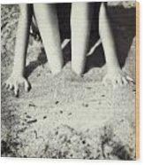Feet In The Sand Wood Print