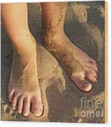 Feet Of A Child In The Sand Wood Print