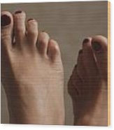 Feet Of A Happy Woman After Coupling Wood Print