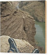 Feet Shod In River Shoes On An Overlook Wood Print by Bobby Model