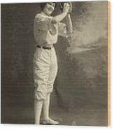 Female Baseball Player Wood Print